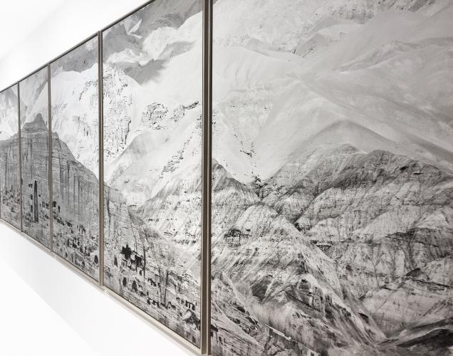 Pascal Convert, Panoramic view of  Bâmiyân's cliff, 2017, Platinum Palladium contact print on cotton paper, 15 prints of 1.66 x 1.10 m each, 1.66 x 16.5 m in total, detail, printed by Laurent Lafolie © Eric Dupont gallery, Paris.