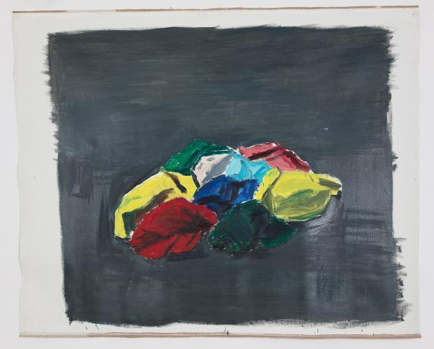DAMIEN CABANES, Tissus fond gris foncé, 2017, oil on canvas, 219,5 x 268,5 cm, courtesy gallery Eric Dupont, Paris.