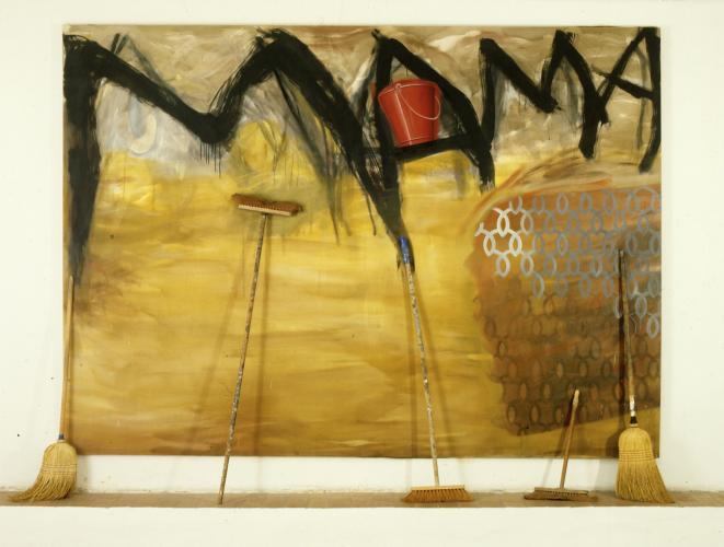 Carlos Kusnir, Mama, 1986, acrylic on canvas, brooms, 240 x 310 cm, © Eric Dupont gallery, Paris.