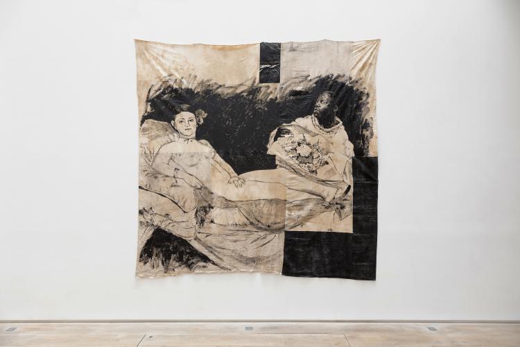 Roméo Mivekannin,<br /> série Le Modèle Noir, Olympia d'après Manet, 2020<br /> Acrylique, bains d'élixir sur toile libre, 260 x 260 cm, <br /> © galerie Eric Dupont, Paris
