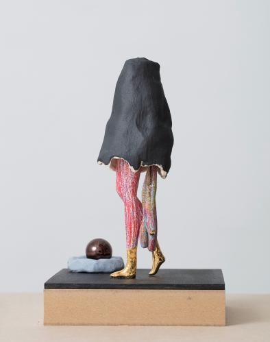 Gabrielle Wambaugh, Mmm à la boule, 2017, Ceramic, P.V.C., coloured pencil, lustre, 21 x 15 cm, Courtesy galerie Eric Dupont, Paris.