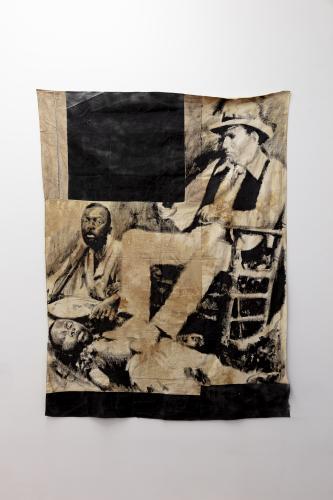 Roméo Mivekannin, <br /> Le colon, Afrique du sud, 2020,<br /> Acrylique, bains d'élixir sur toile libre,<br /> 186 x 146 cm <br /> © galerie Eric Dupont, Paris