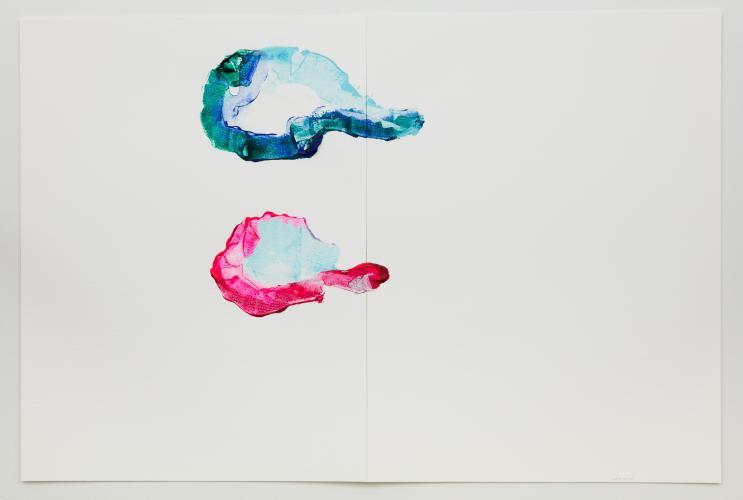 Mari Minato, Sumer series, II, 2017, Acrylic and aluminium on paper, 48 x 72 cm, diptych. Photographer : Jean-François Rogeboz, © courtesy galerie Eric Dupont, Paris.